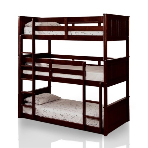 Bowery Hill Twin Triple Decker Bunk Bed In Espresso Twin Bunk
