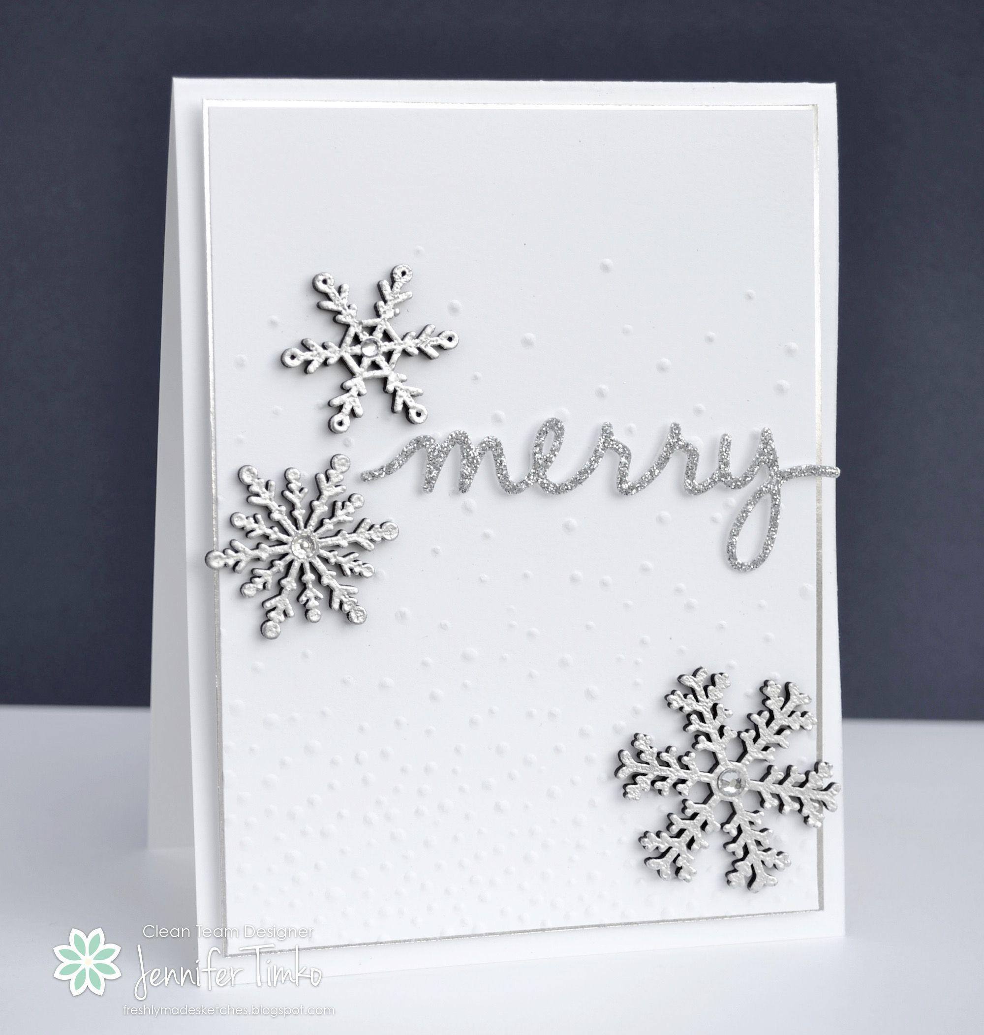 Christmas Greetings Thinlits Dies and embossed snowflake wooden elements