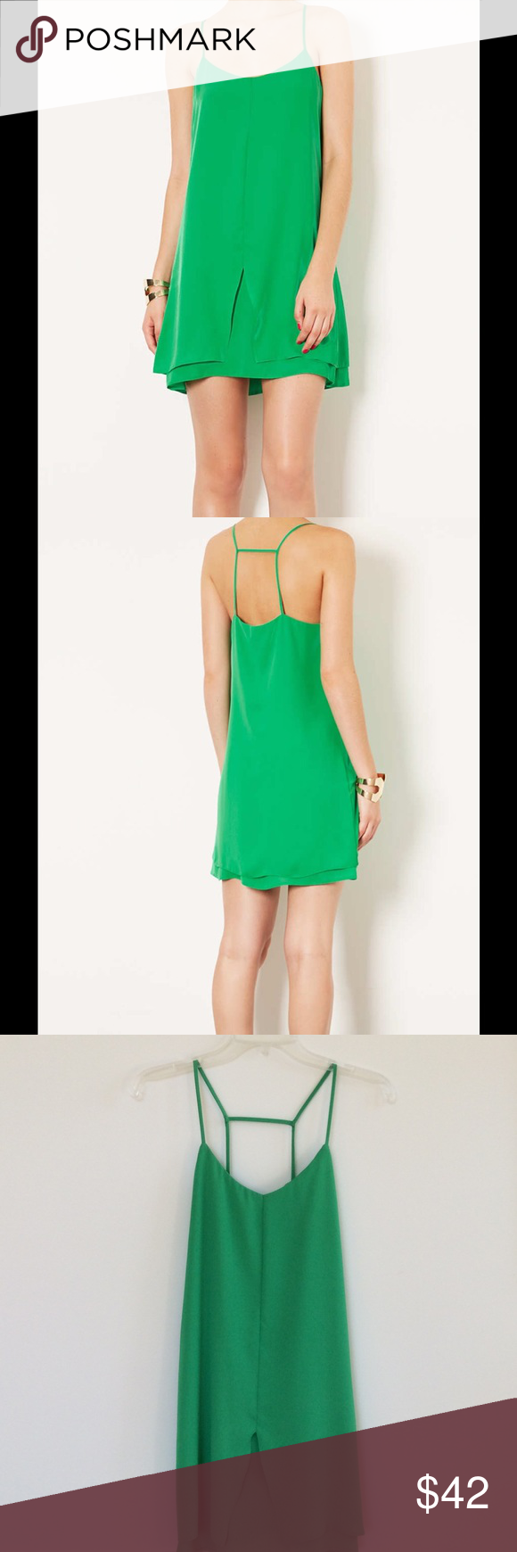 TOPSHOP STRAPPY SLIP DRESS💚 Beautiful layered slip dress in great condition💚WORN ONCE Topshop Dresses Mini