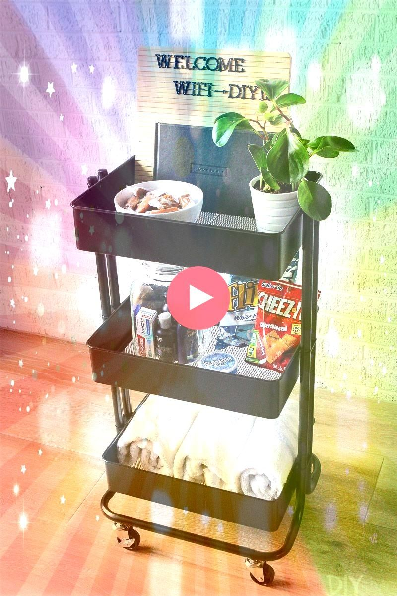 a Rolling Cart in 3 Different Ways  Use a rolling cart to hold guest room essentials Love this idea to hold snacks extra towels toil Styling a Rolling Cart in 3 Different...