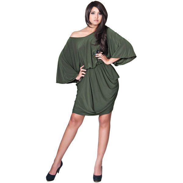 Knee Length Elegant Batwing Olive Green Cocktail Dress - Plus Size ...
