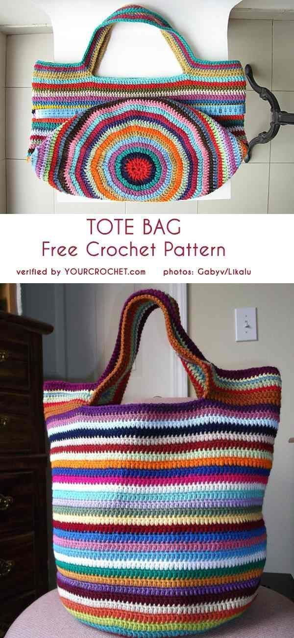 Crochet Patterns Tote Bag Free Crochet Pattern #crochetdiy