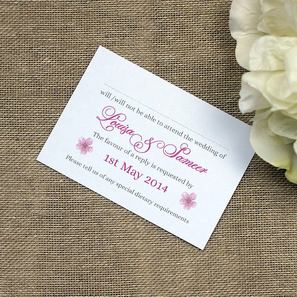 Modern Pink Personalised Wedding RSVPs /& FREE Matching Pearlescent Envelopes