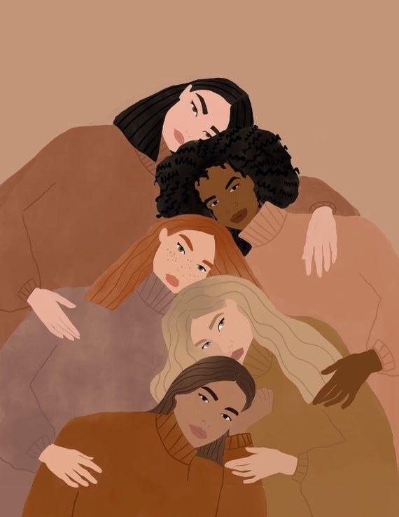 Women supporting women art print, women empowerment art print, feminist art