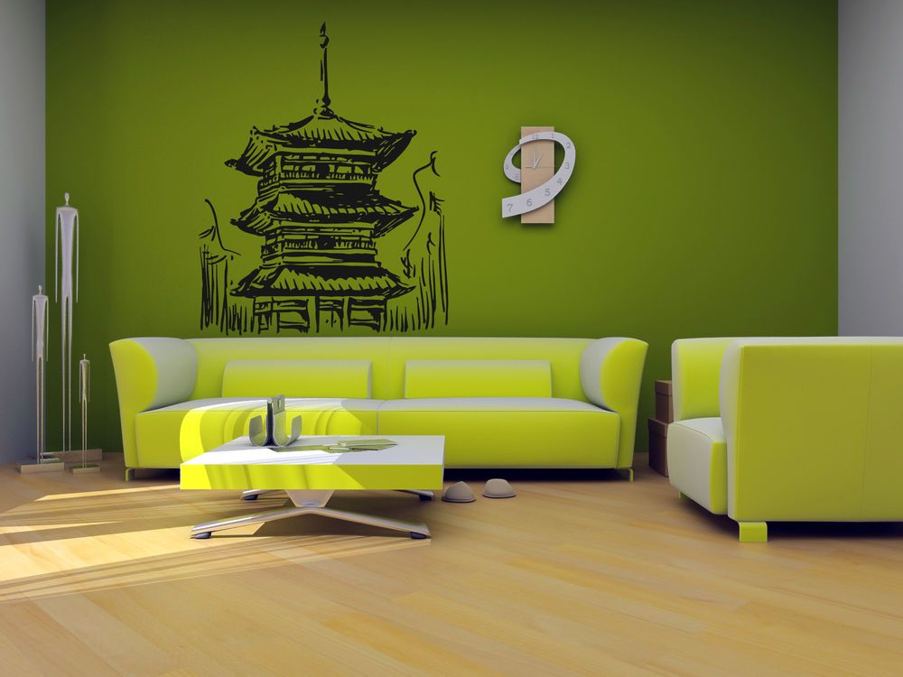 Wall Art Vinyl Sticker Decal Mural Room Design Japanese Temple