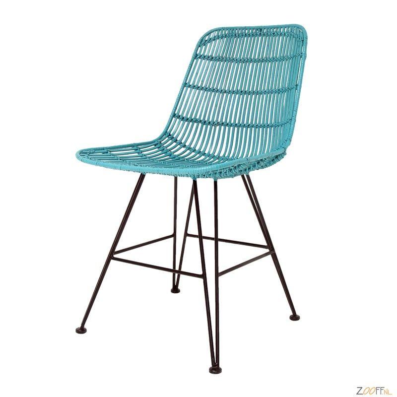 HK Living Rotan / Metaal Stoel oceaan groen - De stijlvolle HK Living Rotan Eetkamerstoel is een oceaan groene rotan gevlochten design stoel met mooie ranke pootjes. De woonkamerstoel is voorzien van een metalen 4-poots onderstel. De zitschaal bestaat uit een metalen frame met rotan er omheen gevlochten. Een moderne stoel met een bijzondere uitstraling.De HK Living Rotan Stoel is verkrijgbaar bij Zooff in 4 verschillende kleuruitvoeringen: wit, oceaan groen, zwart en honing.