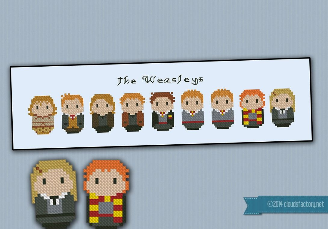 From the Harry Potter saga, a cross stitch pattern that features all the Weasley family: Arthur, Molly, Bill, Charlie, Percy, Fred and George, Ron and Ginny.
