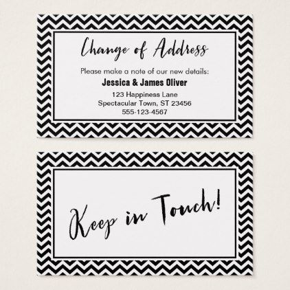 Black and White Chevron  - change of address templates