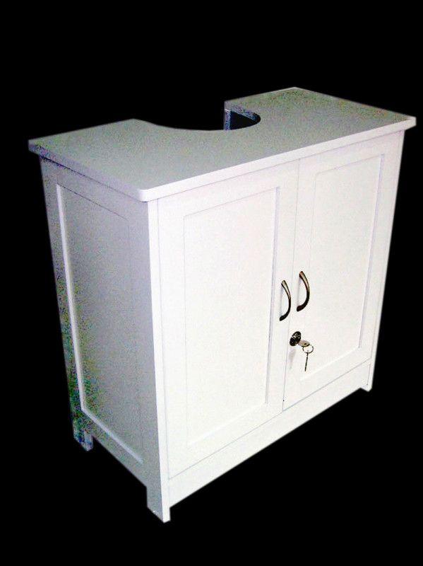 White Wood Under Sink Cabinet Bathroom Storage Unit - Shaker Style **LOCKABLE** & White Wood Under Sink Cabinet Bathroom Storage Unit - Shaker Style ...