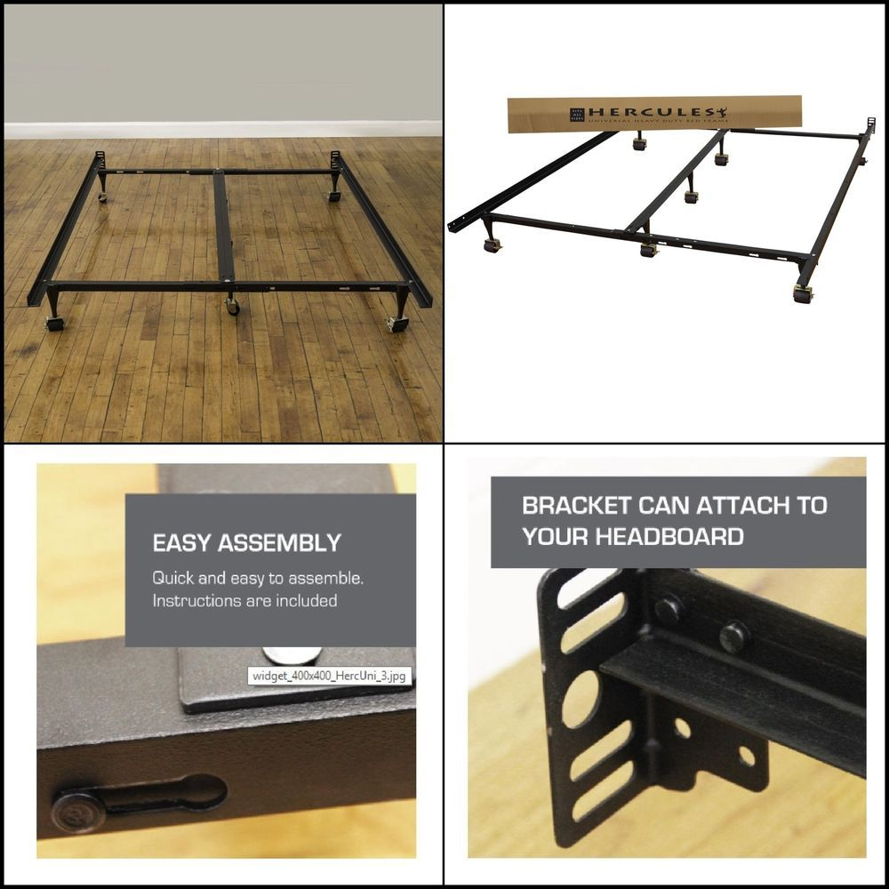Universal Adjustable Metal Bed Frame Fits All Sizes Heavy