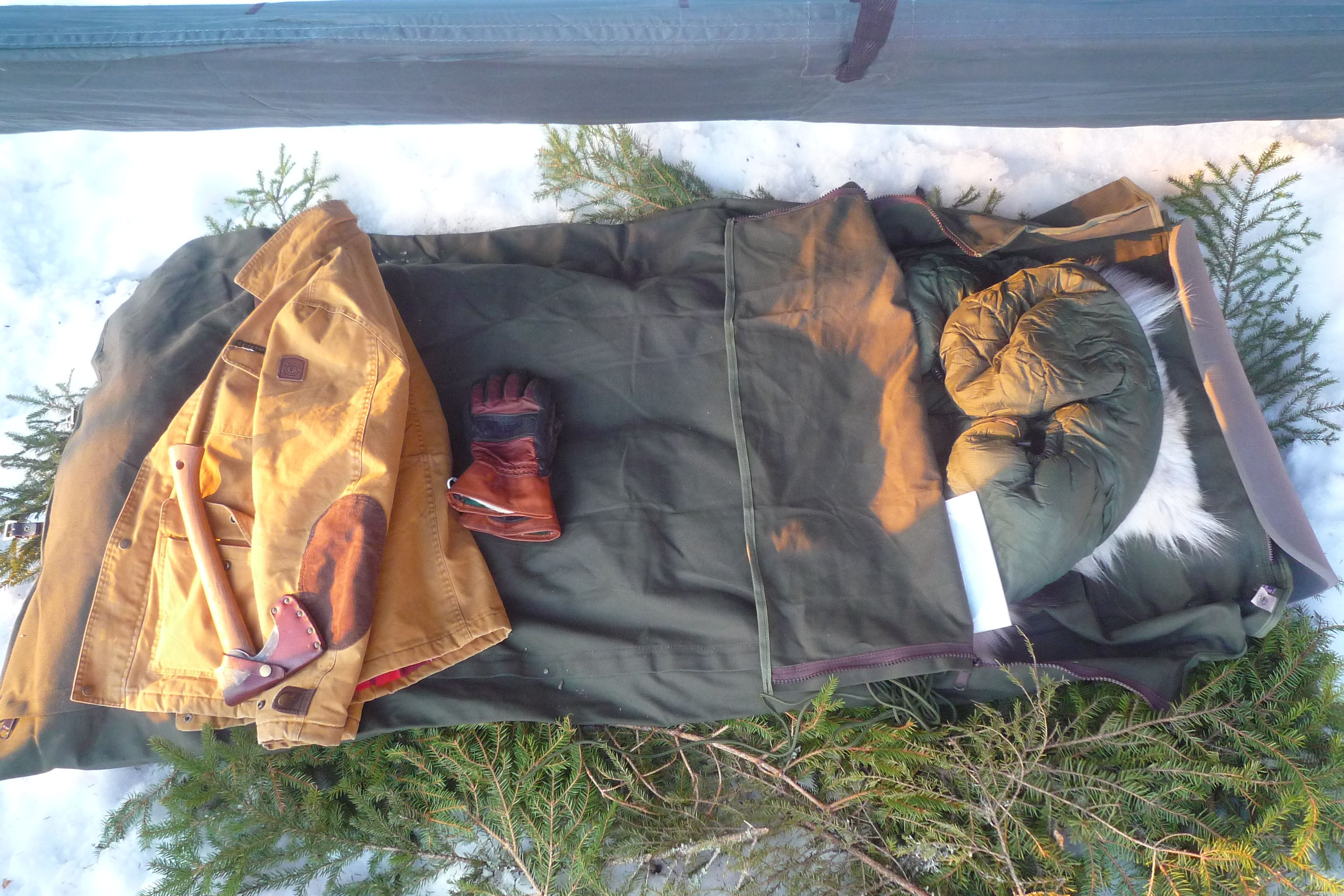 Norwegian winter tarp camp with duluth bedroll winter