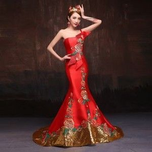 Embroidered One-shoulder Trained Mermaid Evening Gown