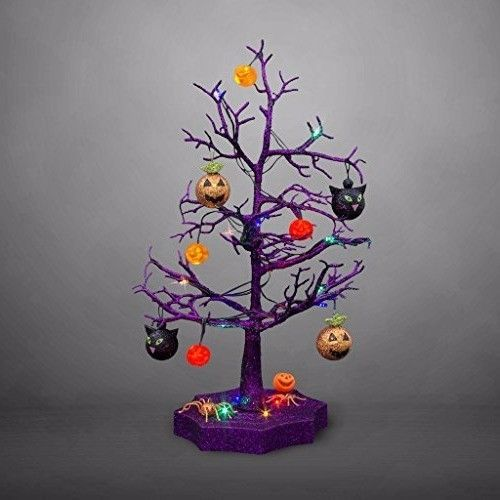 Lighted Halloween Tree Led Sparkle With Cats Pumpkins And Spiders