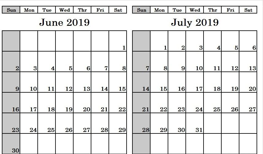 Printable June July 2019 Calendar Monthly Templates 2019