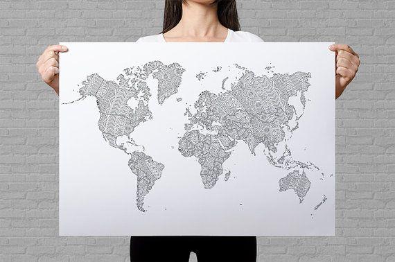 Mandala world map poster mandala adult coloring pages custom world map poster giant coloring page travel map etsy sales map art print mandala colouring page mandala drawing adult coloring pages by annagrundulsdesign gumiabroncs Choice Image