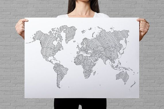 World Map Poster Coloring Travel Map Of The World Adult Coloring