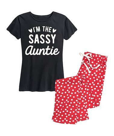 d5b70564f8226b This Black & Red Dot 'I'm the Sassy Auntie' Pajama Set - Women is perfect!  #zulilyfinds