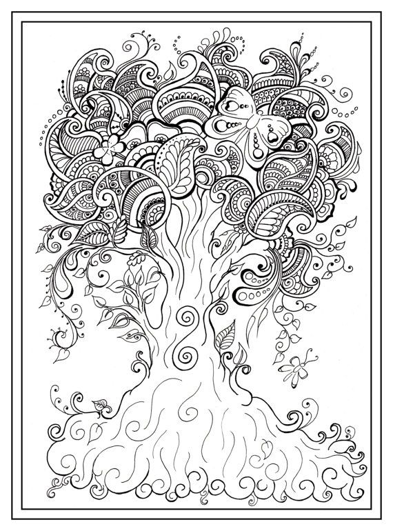 Adult Colouring In PDF Download Tree Dragonfly Par Gwendaviesart Plus