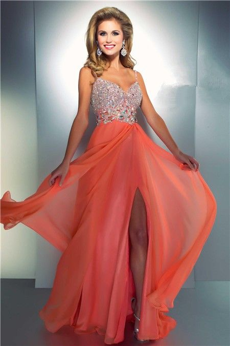 Sheath Sweetheart Cut Out Long Coral Chiffon Beaded Prom Dress With ...
