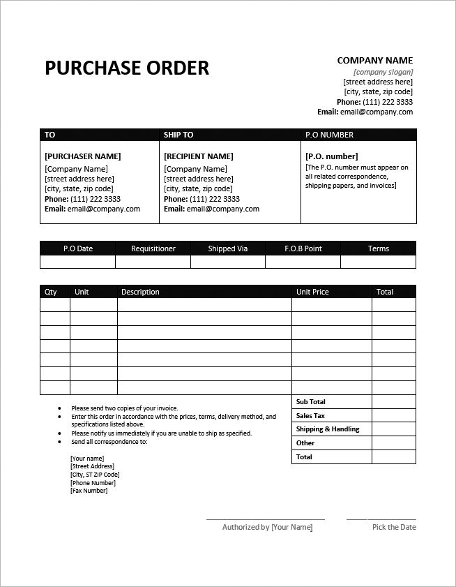 MS Word Purchase Order Template #PurchaseOrder #PO #MSWord #Template