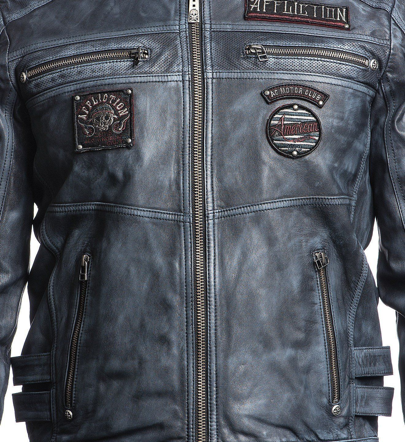 Mens Jackets Velocity Affliction clothing, Leather