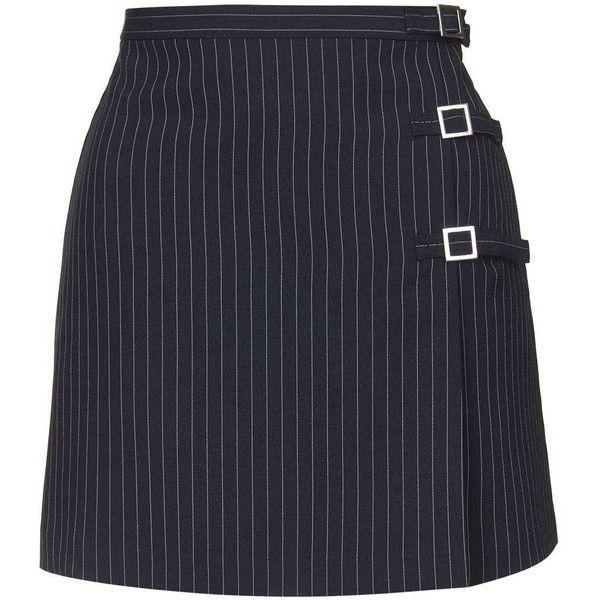 TopShop Pinstripe Buckle Skirt (2.480 RUB) ❤ liked on