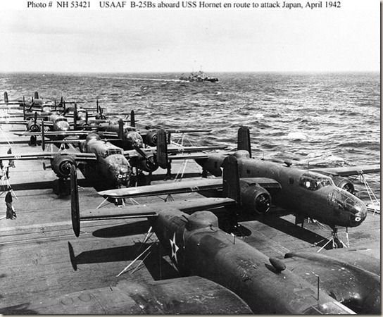 """April 18, 1942 - The Doolittle Raid was the first air raid by the U.S to strike Japan in retaliation after   the Japanese attack on Pearl Harbor on December 7, 1941 during World War ll. The   raid was planned and led by Lieutenant Colonel James """"Jimmy"""" Doolittle . A   total of sixteen U.S Army Air Forces B-25B Mitchell medium bombers were launched   from the U.S Navy's aircraft carrier USS Hornet in the Western Pacific Ocean."""