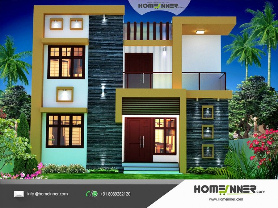 Contemporary Style 1674 Sqft Economic House Plan Design Cool House Designs House Front Design Small House Elevation Design