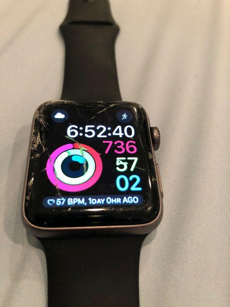 Apple Watch Series 2 42mm Aluminum Case Black Sport Band Cracked Screen Apple Watch Series 2 Apple Watch Apple Watch Bands