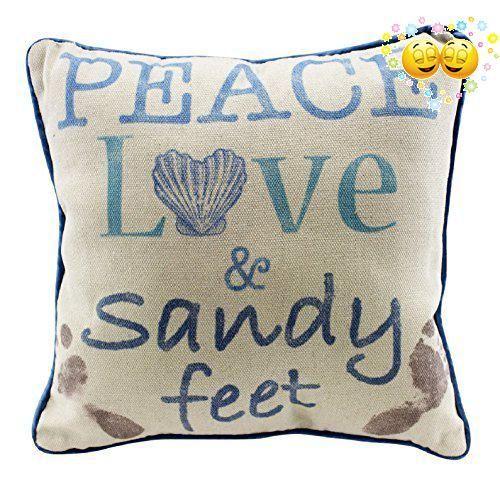 Peace Love /& Sandy Feet Decorative Throw Pillow Nautical Beach Coastal Decor