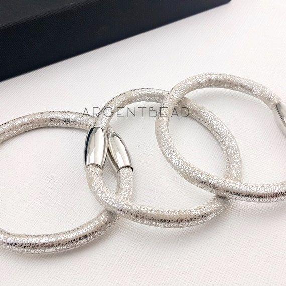1pc 8.5inch length soft PU Eco Leather Wrap Bracelet silver Magnetic Clasp    wedding bracelet bridal wedding bracelet AG0015 by Argentbead on Etsy aa9995d2053a
