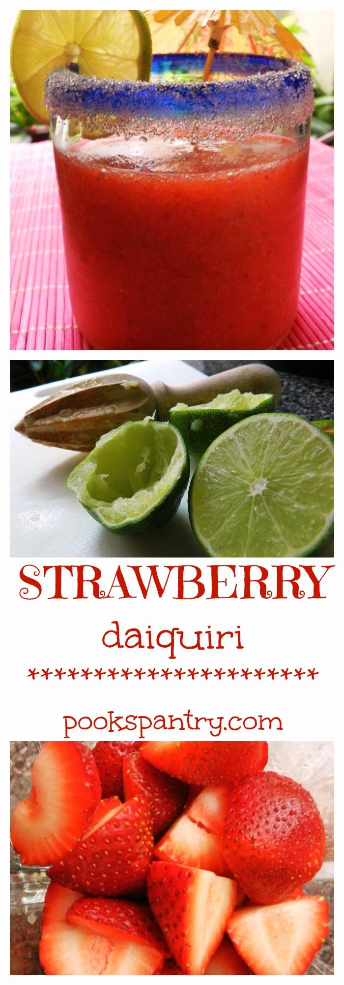 Delicious Strawberry Daiquiris made from only FRESH ingredients!!! No mixers or dyes here! #fresh #summer #drinks #strawberry