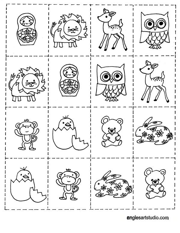 Free Coloring Page and Memory Game for Kids | Angie\'s Art Studio ...