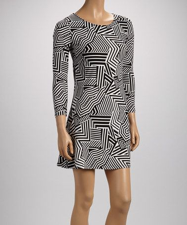 Look what I found on #zulily! Black & White Abstract Zigzag Shift Dress #zulilyfinds