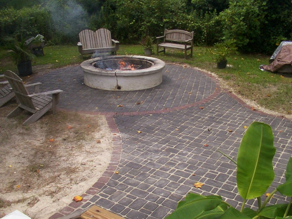 Brick patio design ideas yahoo search results garden for Flower fire pit