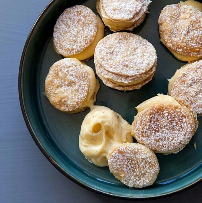 Custard slice: puff pastry circles sandwiched together with vanilla custard