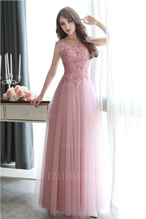 A-Line/Princess Jewel Floor-length Tulle Prom Dress | Dresses ...