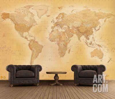 Old Map Wallpaper Mural Wallpaper Mural at Art.com | For The Home ...