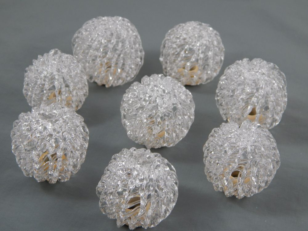 Vintage Clear Spun Glass Ball Christmas Light Covers Reflectors
