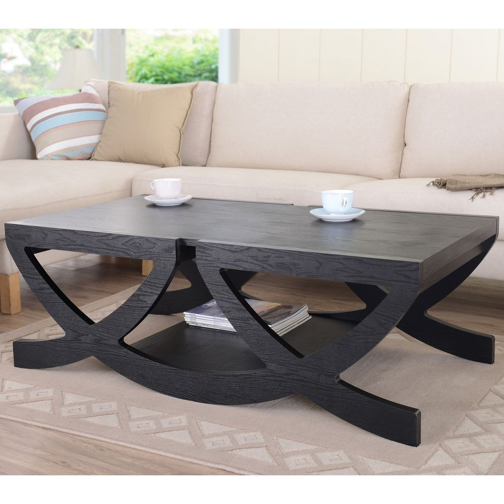 Modern Black Single Shelf Coffee Table | Overstock.com Shopping - The Best Deals on Coffee, Sofa & End Tables