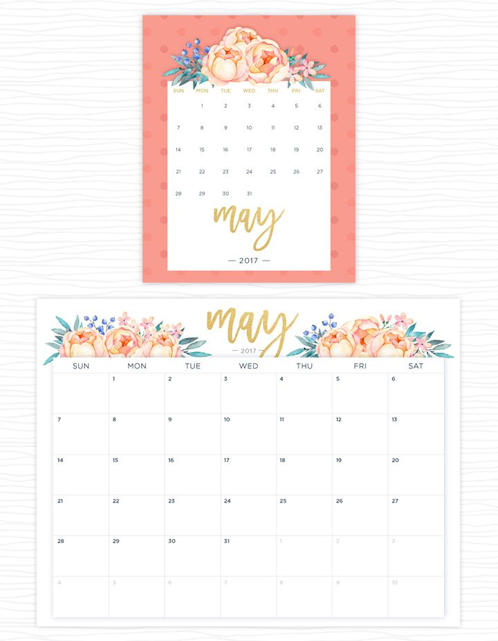 Printable Calendar May 2017 printable calendars for a more floral 2017 | printable calendars