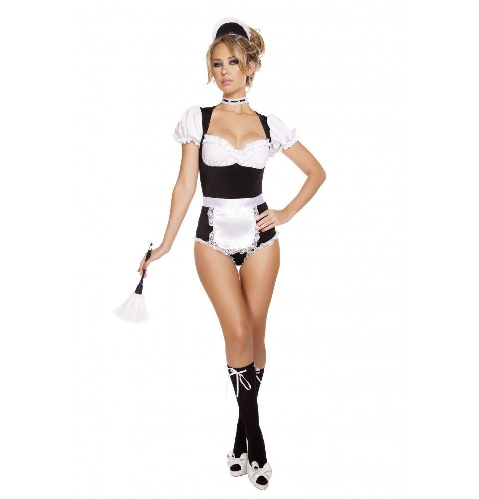 White apron lace trim - The Four Piece Foxy Cleaning French Maid Costume Features A Black And White Romper With Puffy Sleeves White Lace Trim White Apron French Maid Headpiece