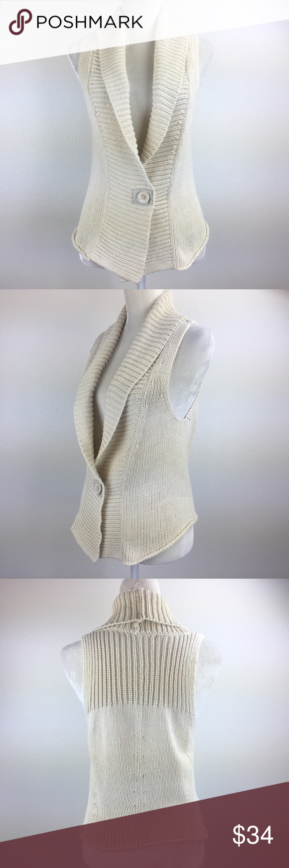 Cabi Cream Cabled Button Close Sleeveless Cardigan Sleeveless Cardigan Sweater Vest Knitted Sweaters