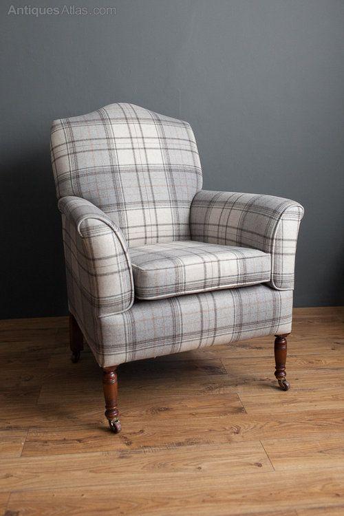 An Edwardian Scroll Armchair.   Antiques Atlas In A Quality Warwick  Bainbridge Grey Wool Fabric