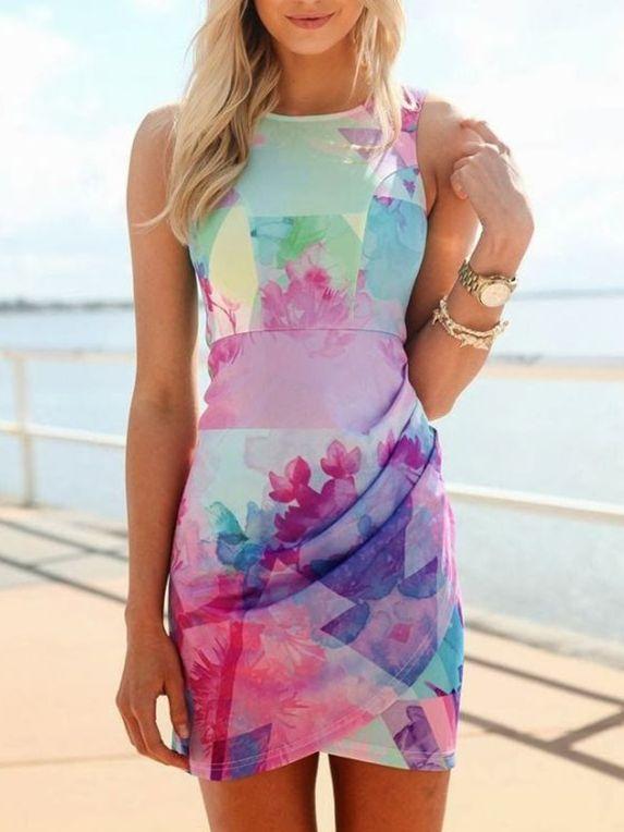Blue+Sleeveless+Floral+Print+Dress+15.99