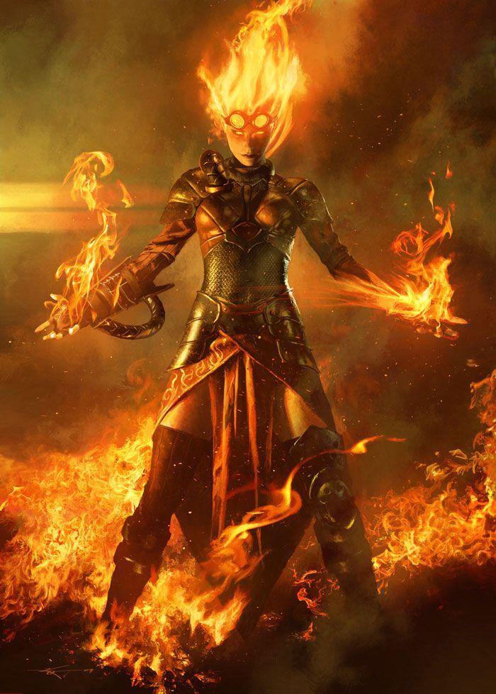 Michael Komarck | Chandra Nalaar (2009) | Art for Magic ...Female Fire Elemental