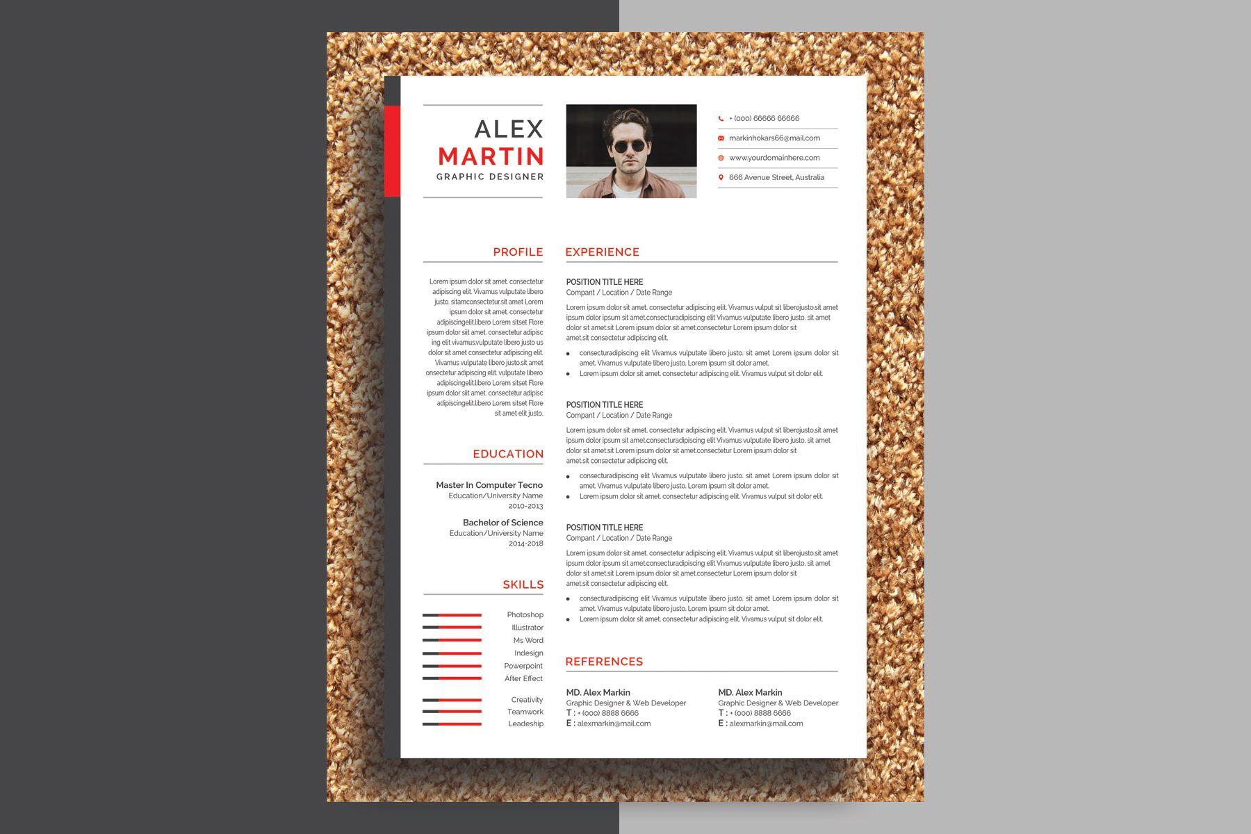 Alex Martin Modern & Creative Resume Template 77858