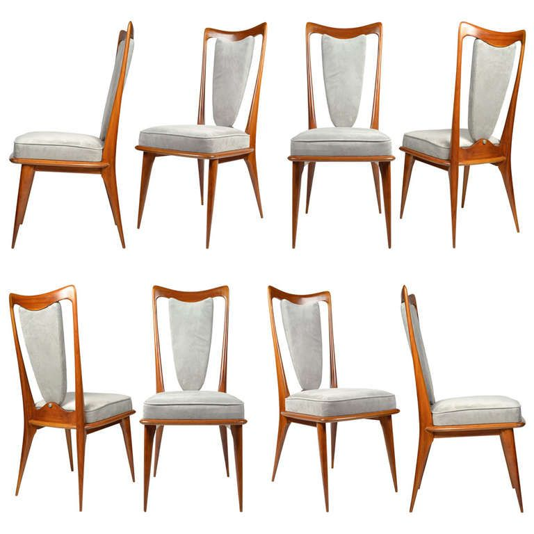 Set Of 8 Italian Dining Chairs In The Manner Of Paolo Buffa Simple Italian Dining Room Decor Design Decoration