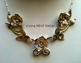Hand-made Sterling Silver roses and leaves necklace. Commissioned by a client.