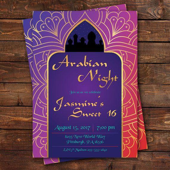 Arabian Nights Birthday Invitation Aladdin Birthday Invitation